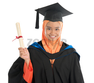 Female student in graduation gown