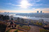 Kalemegdan. View of  Sava river and Belgrade cityscape from Kalemegdan