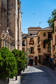 Street scene in medieval city centre of Toledo