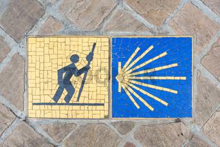 Camino de Santiago sign in Chartres, France