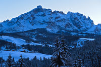 Evening shadows on a cold winter day in the Dolomites Mountains, Alta Badia,  Dolomites, South Tyrol