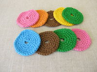 Crocheted, reusable, washable cosmetic pads from colorful wool