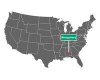 Montgomery Ortsschild und Karte der USA - Montgomery city limit sign and map of USA