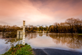 Road cut by flood waters in Australia