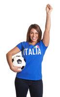 Cheering italian girl