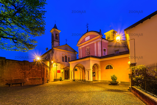Small town of Barolo at night.