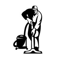 Cleaner Janitor Vacuuming Cleaning With Vacuum Cleaner Retro Black and White