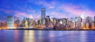 Panoramic view of Midtown East New York at dawn