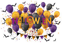 Halloween Text Balloons Bats White