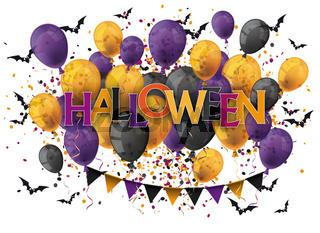 Halloween Text Balloons Bats White