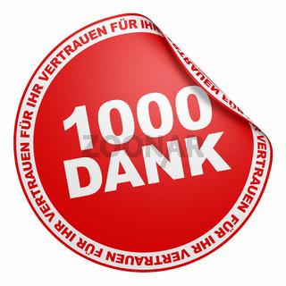 3D Aufkleber Rot - 1000 Dank
