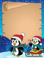 Christmas penguin and sledge parchment 2
