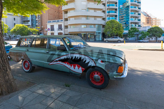 Cordoba Argentina decorations on old station wagon