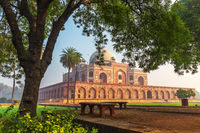 Humayuns Tomb, view from the park, New Dehli, India