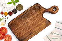 Composition with cutting board and ingredients for cooking
