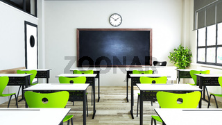 Classroom design with modern green seat and desk 3D rendering