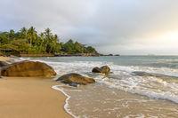 Deserted beach view on Ilhabela island in Sao Paulo coast