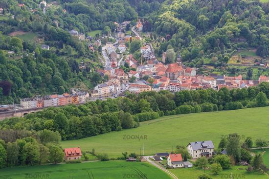 Koenigstein seen from the Lilienstein Saxony