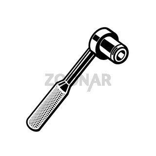 Torque Ratchet Wrench Retro Black and White