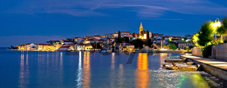 Zadar archipelago. Town of Kali on Ugljan island evening panoramic view