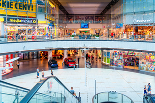 Galeria Galaxy a modern shopping mall featuring fashion stores, restaurants, cinemas and bowling in Szczecin