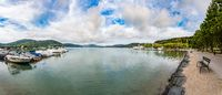 Panorama view at Worthersee lake in Klagenfurt in carinthia, Austria.
