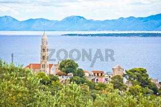 Igrane village on Makarska riviera church tower and waterfront view