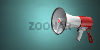Megaphone or loudspeaker on green vintage background.