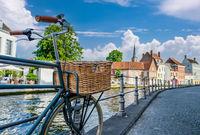 Bruges (Brugge) cityscape with bike