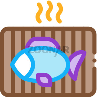 cooking bbq fish icon vector outline illustration