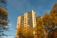 Autumn mood in front of a high-rise building with a blue sky