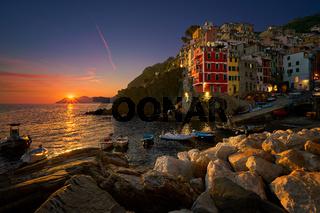 Riomaggiore in Cinque Terre at sunset, in Italy