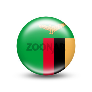 Zambia country flag in sphere with white shadow