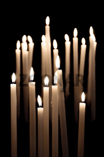 Candles burning in a church