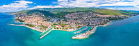 Crikvenica. Town on Adriatic sea waterfront aerial panoramic view.