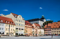 Weißenfels, Germany - 18.06.2019 - market square with a castle