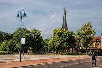 bitterfeld, germany - 19.06.2019 - cityscape with heart jesus church