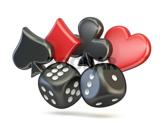 Spade, diamond, club and heart with two black dices 3D