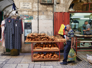 Jerusalem Israel. Baker in the souq of the old city
