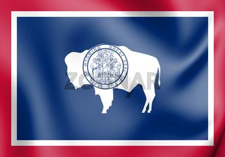 3D Flag of Wyoming, USA. 3D Illustration.