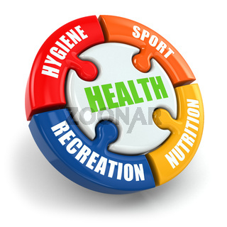 Medical infographic. Health is sport, hygiene, nutrition and recreation.