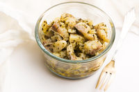 Herring salad with garlic, herbs and olive oil