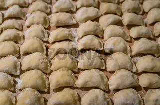 Traditonal Polish food called pierogi in raw form