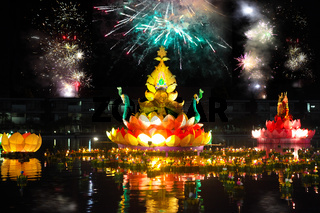 Big and small boats with candles and flowers are given for Thailands traditional Loy Krathong Festival