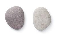 Grey Pebble Stones Isolated On White Background