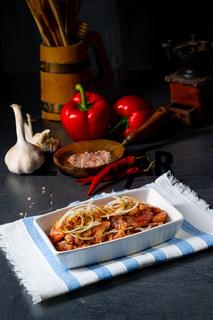 Freshly seasoned Greek gyros meat