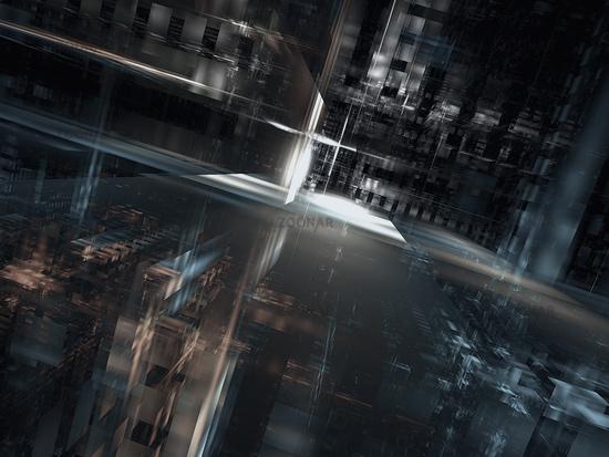 Empty street - gloomy background - digitally generated 3d illustration