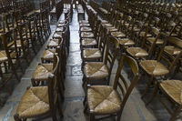 Chairs for parishioners in a catholic church.