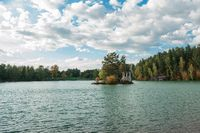 Summer landscape of lake with crystal and fresh water Aya