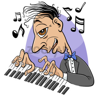 cartoon pianist character playing the piano